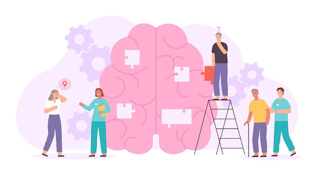 Alzheimer or dementia disease concept with elder characters and doctors. flat human brain with lost memory. neurology disorder vector poster. doctors collecting brain puzzle to treat illness