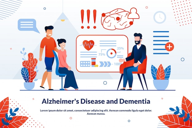 Alzheimer disease and dementia vector banner