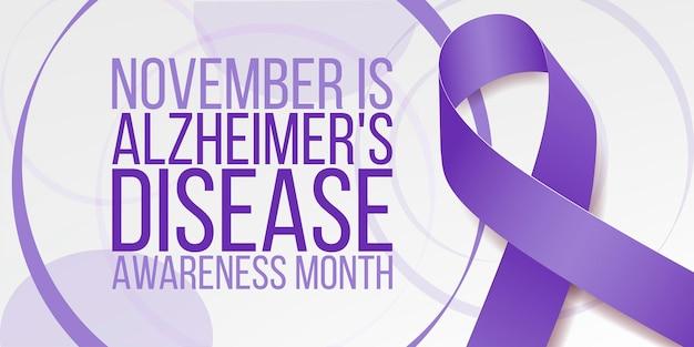 アルツハイマー病啓発月間コンセプト。紫色のリボンとテキストのバナーテンプレート。ベクトルイラスト。