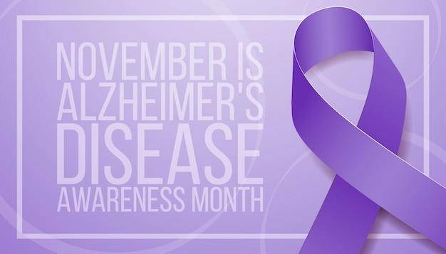 Концепция месяца осведомленности о болезни альцгеймера. шаблон баннера с фиолетовой лентой и текстом. векторная иллюстрация.