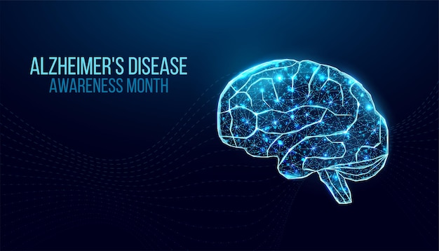 Alzheimer's disease awareness month concept. banner template with purple ribbon and text.  vector illustration.