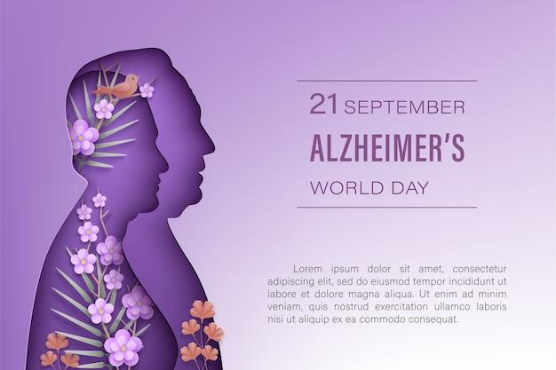 Всемирный день болезни альцгеймера сентябрь. пожилые мужчины и женщины силуэты в стиле вырезки из бумаги с тенью на фиолетовом фоне. вид спереди женщина, мужчина, цветы, ветви, птица. .