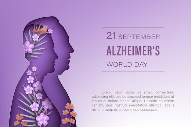 Alzheimer's world  day september. elderly man and woman silhouettes in paper cut style with shadow on a purple background. front view woman, man, flowers, branches, bird. .