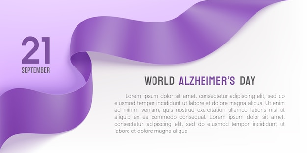 Alzheimers day poster with purple ribbon