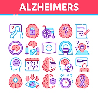Alzheimers disease collection icons set