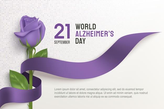 Горизонтальный плакат всемирного дня болезни альцгеймера с лентой и розой на светлом фоне. сентябрьский день пурпурной ленты. шаблон осведомленности о болезни альцгеймера с местом для текста.