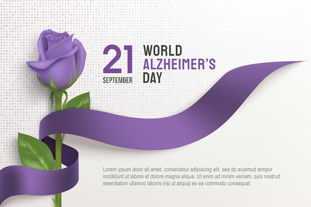 Alzheimers world day horizontal poster with ribbon and rose on a light background. september purple ribbon day. alzheimer disease awareness template with place for text.