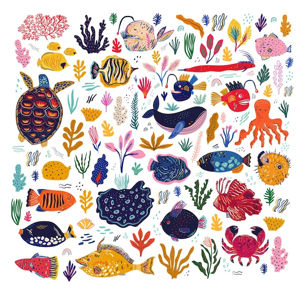Amaizing illustration with fishes, angler fish, whale, octopus, turtle and crabs