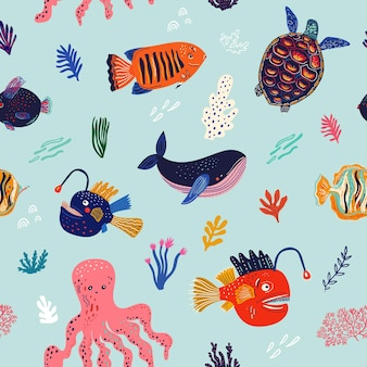Amaizing seamless pattern with fishes, whale, octopus and turtle
