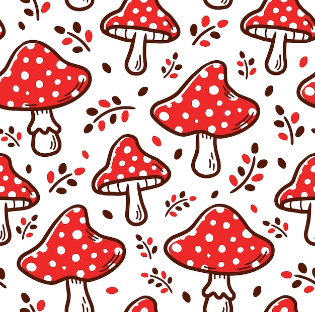 Amanita mushroom seamless pattern