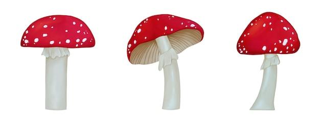 빨간 모자와 흰색 점이있는 amanita 버섯 세트