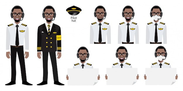 Мультипликационный персонаж с капитаном авиакомпании amarican african в капитане в форме с улыбкой, медицинской маской и держит плакат шаблон. набор изолированных иллюстраций