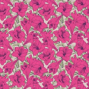 Amaryllis flower seamless floral pattern