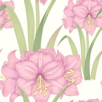 Amaryllis flowers seamless pattern floral design in victorian style