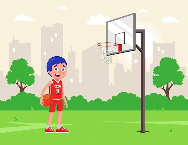 裏庭のアマチュアバスケットボール。ボールと制服を着たアスリート。