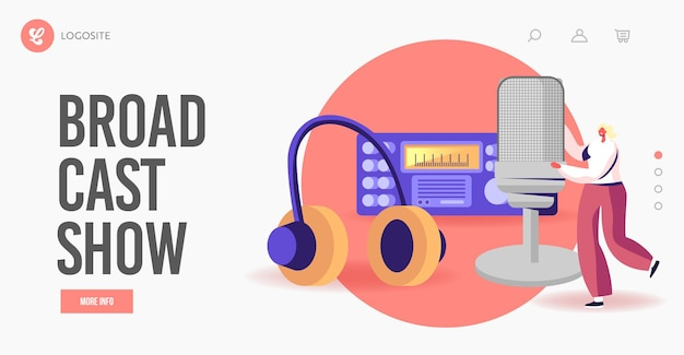 Amateur broadcasting studio landing page template. tiny female character with huge microphone or headset at radio transmitter broadcast podcast or audioprogram livestream. cartoon vector illustration