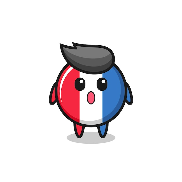 The amazed expression of the france flag badge cartoon , cute style design for t shirt, sticker, logo element