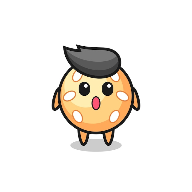 The amazed expression of the sesame ball cartoon , cute style design for t shirt, sticker, logo element