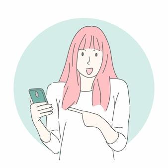 Пораженная женщина, указывая на смартфон в рисованной