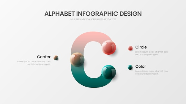 Amazing alphabet infographic c symbol colorful balls presentation design illustration layout