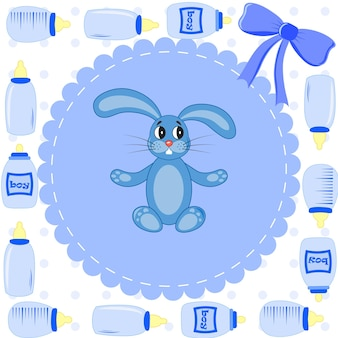 Amazing baby shower or arrival set. tags, banners, labels, cards with cute kids illustration.