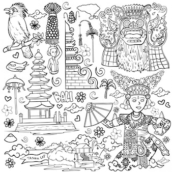 Amazing bali indonesia outline illustration isolated