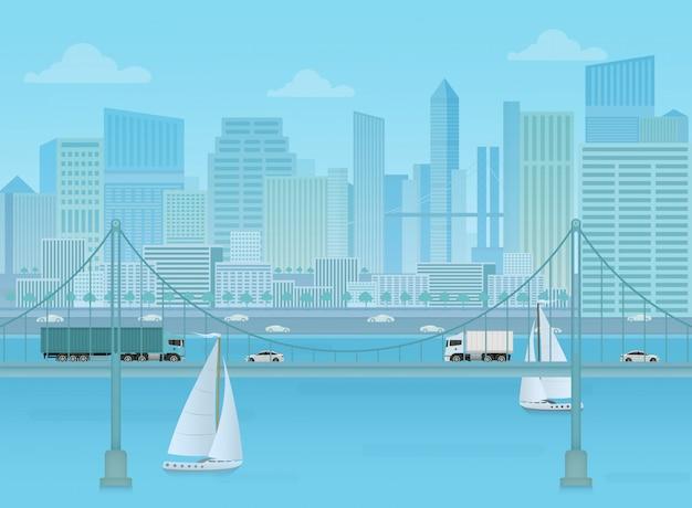 Amazing bridge cityscape background.