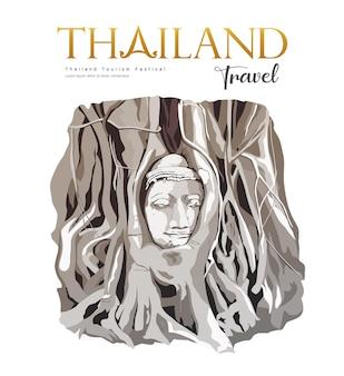 Amazing buddha head in tree roots wat mahathat ayutthaya thailand background vector