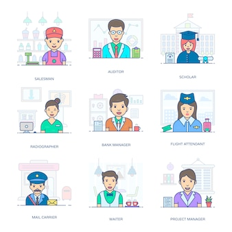 An amazing bundle of professional people, this flat icons pack is facilitating you with its editable style