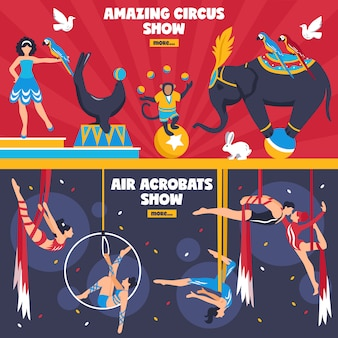 Amazing circus banners set