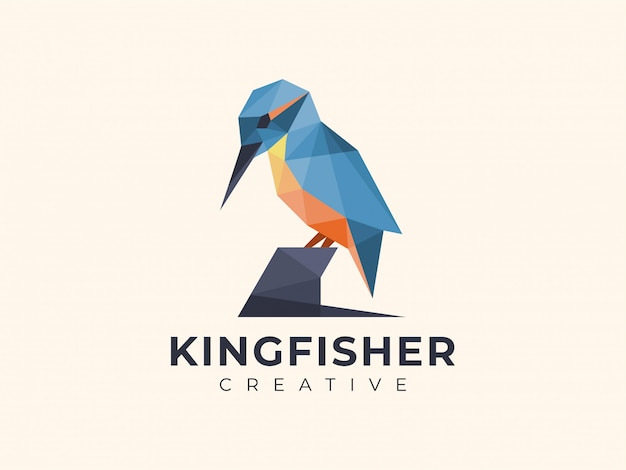 Amazing colorful geometric kingfisher logo