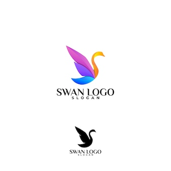 Amazing coloring swan logo design