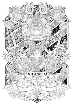 Amazing culture of indonesia in vintage frame