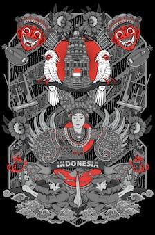 Удивительная культура индонезии иллюстрации в винтажной рамке