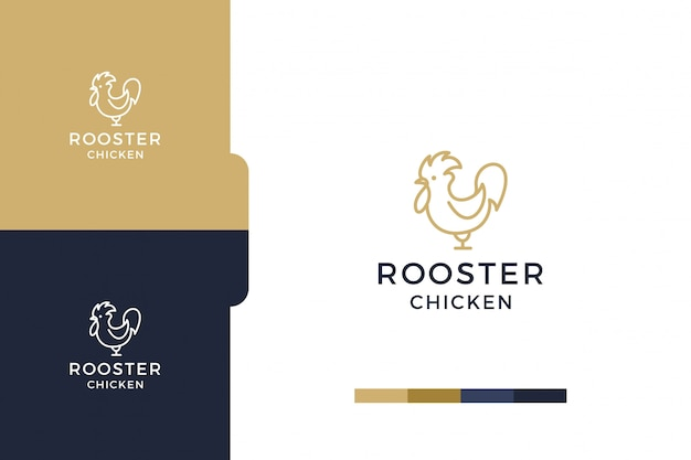 Amazing, drawing rooster chicken minimalist logo template.