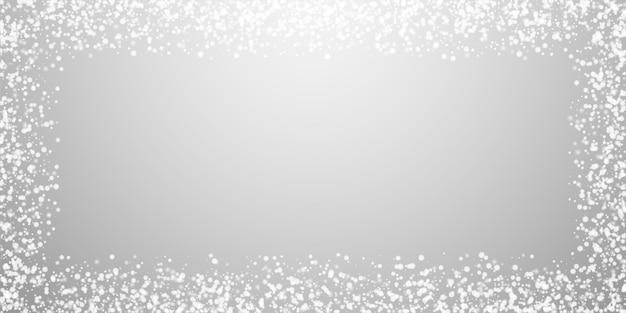 놀라운 떨어지는 눈 크리스마스 배경. 밝은 회색 배경에 미묘한 날아다니는 눈 조각과 별. 훌륭한 겨울 은색 눈송이 오버레이 템플릿입니다. 완벽 한 벡터 일러스트 레이 션.