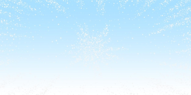 Amazing falling stars christmas background. subtle flying snow flakes and stars on winter sky background. appealing winter silver snowflake overlay template. surprising vector illustration.