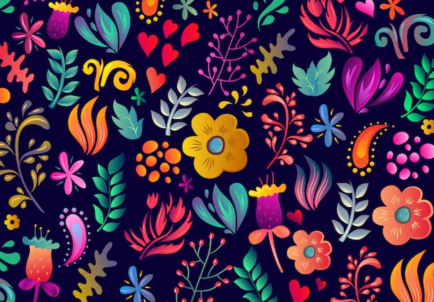 Amazing floral pattern with bright colorful flowers and leaves