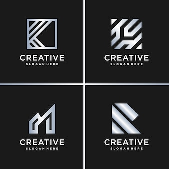 Amazing gradient silver logo collection, letter, construction, business, finance