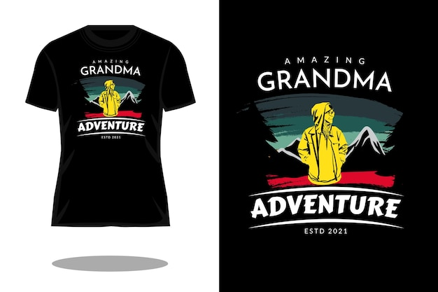素晴らしいおばあちゃんのシルエットのレトロなtシャツのデザイン