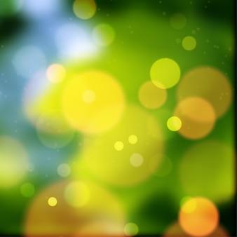 놀라운 녹색과 노란색 bokeh 개요
