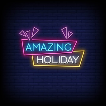 Amazing holiday neon signs style text