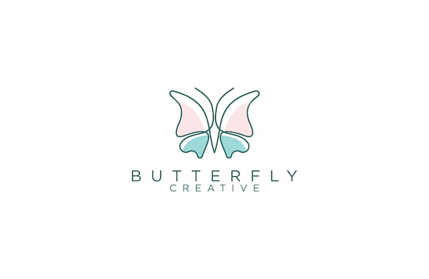 Amazing line art butterfly logo design