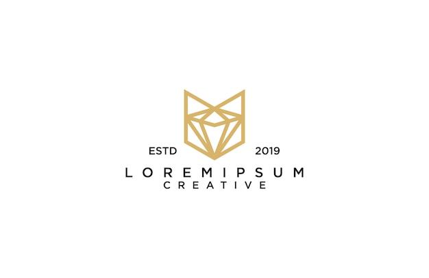 Amazing line art fox with diamond logo