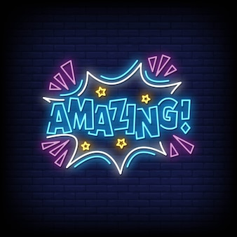 Amazing neon signs style vector text