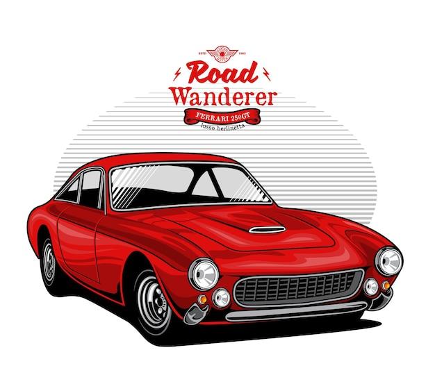 驚くべき赤いマッスルカーのイラスト
