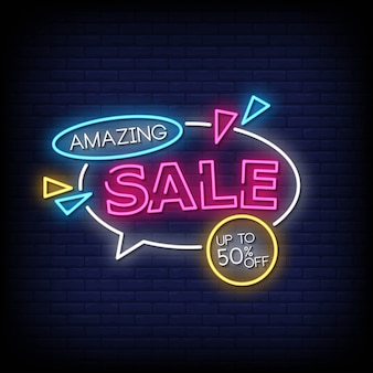 Amazing sale neon signs style text