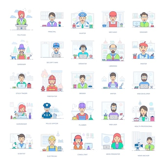 An amazing set of professional people, this flat icons pack is facilitating you with its editable style
