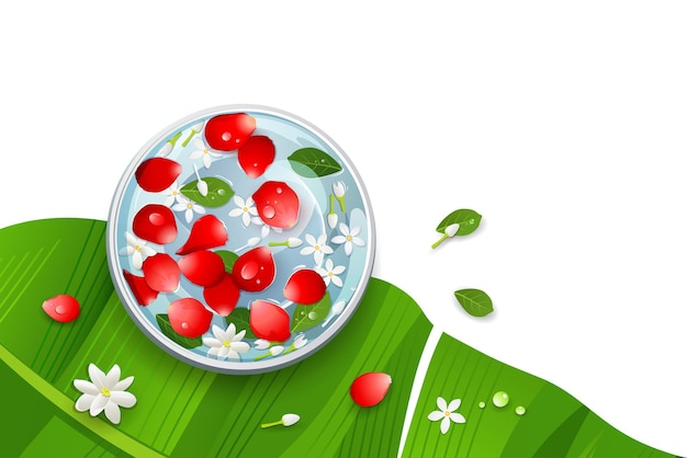 Amazing songkran festival thailand rose petals and flower, leaf in water bowl on banana leaf design,  illustration