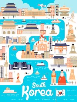 フラットスタイルの素晴らしい韓国旅行ポスター